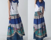 Blue Peony - patchwork maxi skirt and dress (Q1207)