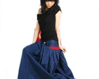 Red Pocket - silky linen maxi SKirt (Q1001)