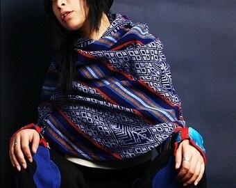 blue star ethnic poncho hoodie / shawl with hoodie /  hill tribal cotton hoodie / hippie shawl (P1601)
