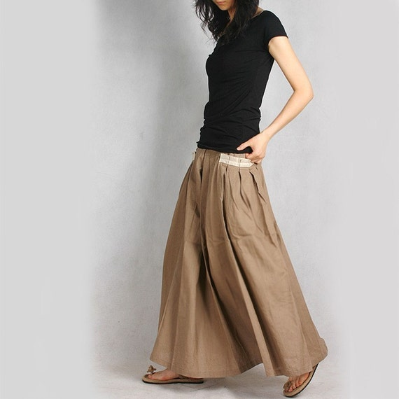 RED POCKET LONG SKIRT (beige) less is more (Q1001)