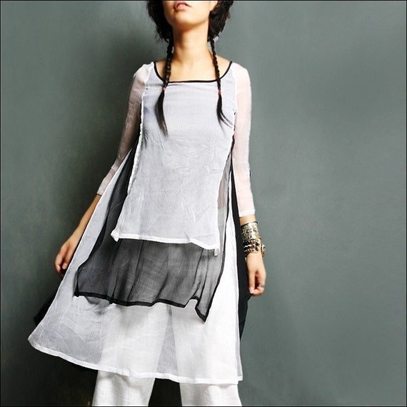 a dream lighter than a cloud - silk tunic dress (Q1014)