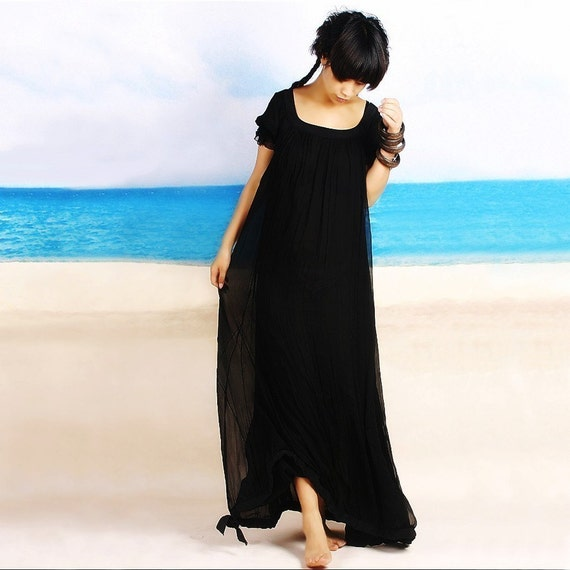 Aegon 2 silk chiffon long dress (Q1010)