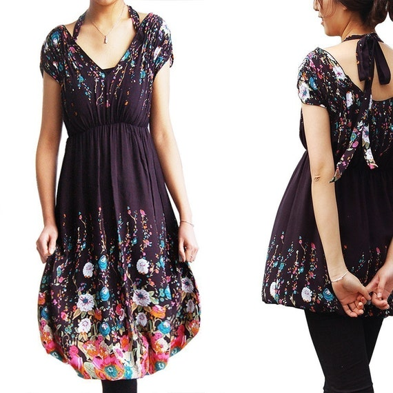Almost Wonderland -- floral dress and blouse (many ways to wear) Q1002