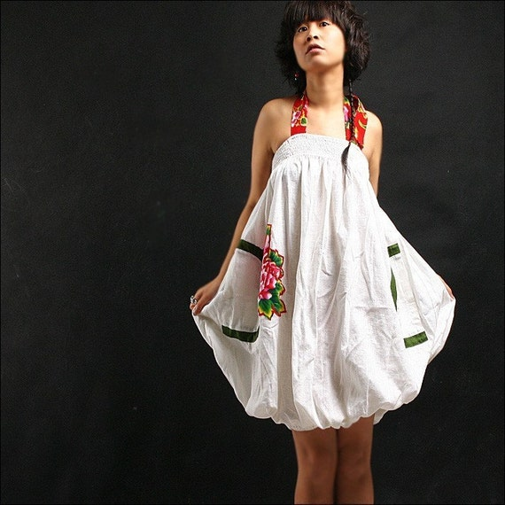 FLORAL SPAGHETTI STRAP WHITE COTTON DRESS WITH PEONY