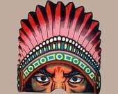 Vintage Hallowe'en Mask - Native American Indian Chief