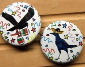 Set of 2 Exclusive Fiesta Crow Pin Back Buttons