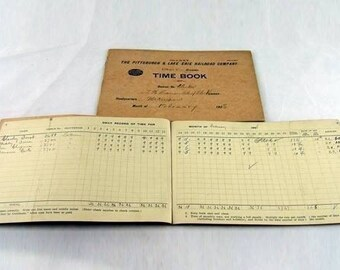 Vintage PIttsburgh and Lake Erie Railroad Company Time Book (P&LE) from the Early 20th Century