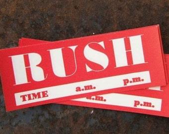 Package of 10 Vintage Dennison RUSH Labels