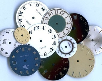 10 or More -  VINTAGE Wristwatch Faces or Dials, aka Watch Faces or Watch Dials - Assortment - Grab Bag