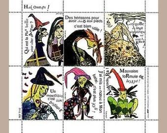 Artists' Artistamps - Hallowe'en - Gummed Fine Art Stickers (Water Activated) - Halloween Stickers