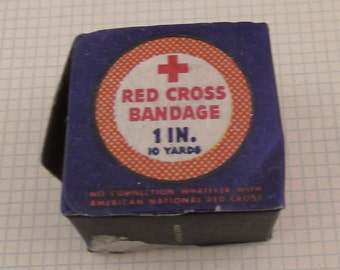 Vintage Red Cross Bandage - 10 Yards - 1 inch wide - Original Package - Drug Store - Pharmacy Collectible