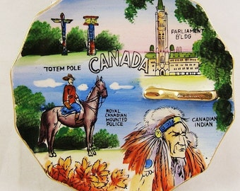 Vintage CANADA Souvenir Hand Painted Candy Dish or Pin Dish with Gold Metallic Handle