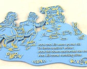 Super Rare Vintage BLUE Plastic Nursery Rhyme Plaque - Jack and Jill