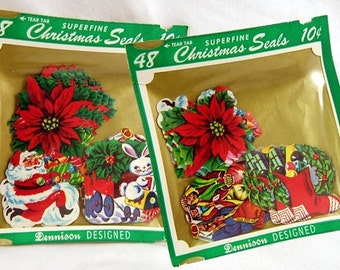 Authentic Vintage Dennison Superfine Assortment of 48 Christmas Gummed Seals