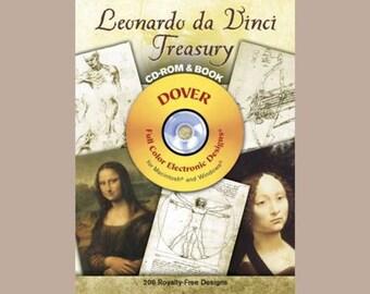 Leonardo da Vinci Treasury CD-ROM & Book - 206 Digital Images for Mac or PC - Full Color Paper Images, Too