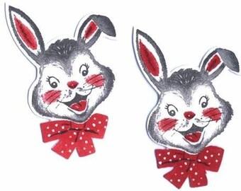 Set of 4 Vintage 1940s Die Cut Happy Bunny Faces