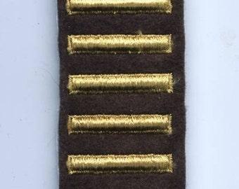 Vintage World War II US Army Overseas Service Stripes - 5 Stripes