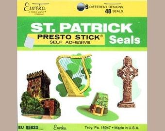 Vintage Eureka St Patrick's Day Stickers - Self Stick Adhesive