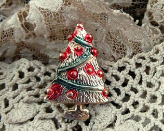 Vintage Novelty Christmas Tree Pin with Hand Painted Accents