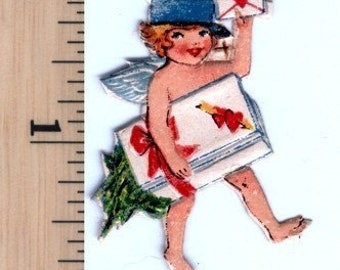 Little Valentine Mailer - Vintage Die Cut Chromolithograph Scrap Picture - Package of 2