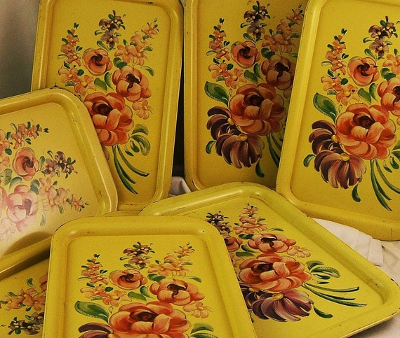 REDUCED - Set of 8 Vintage Yellow and Pink Pastel Flower Metal Serving Trays 1960s (Found 1 More)