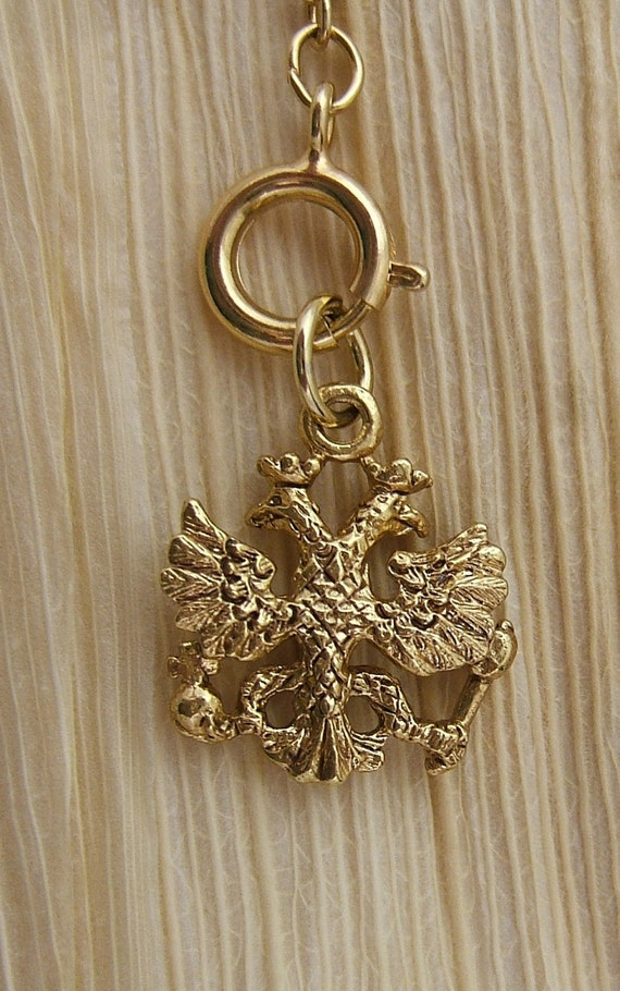 Retired Joan Rivers Queen of Romania Necklace Charm - Double Headed Eagle Charm (E020)
