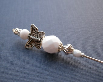 Opaque White Butterfly Beaded Hatpin Stick Pin