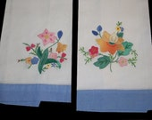 FRESH BLOOMS....Set of Two Vintage Appliqued Embroidered Guest Tea Towels
