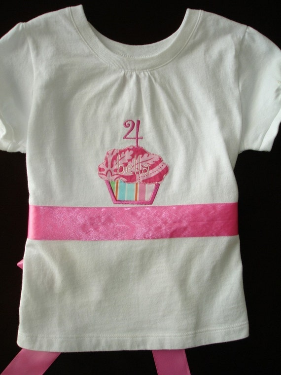 Custom Personalized Birthday Cupcake Shirt\/Onesie