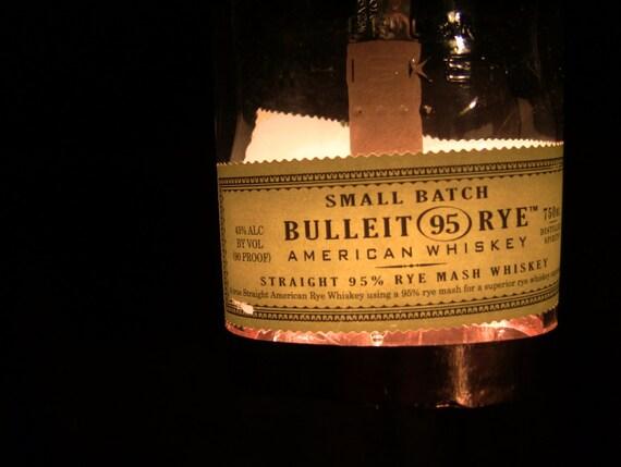 Bulleit Rye Whiskey Bottle Pendant Lamp with Shiny Copper Trim