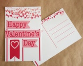 Happy Pink and Red Banner Postcard Valentine Single