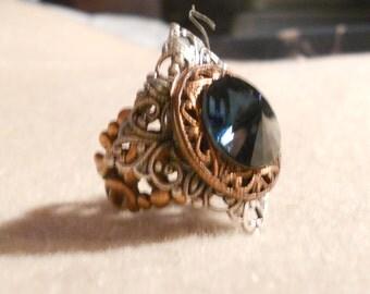 osO BEATRIX Oso silver and copper filigree blue montana ring