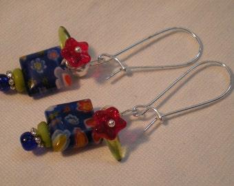 Blue millefiori flowers earrings  FREE COMBINE SHIPPING