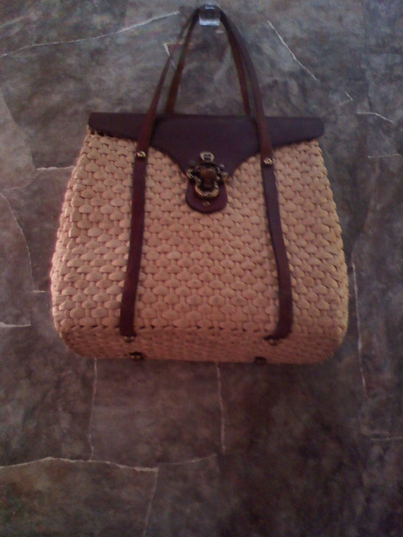 Vintage Etienne Aigner Straw and Leather  Bag