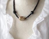 SALE - Vintage Beads  faceted black glass Boho Necklace