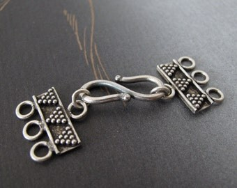Sterling silver triple strand Clasp