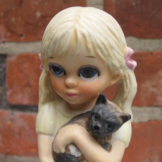 Keane Figurine 1976 My Kitty Big Eyed Little Girl-2083