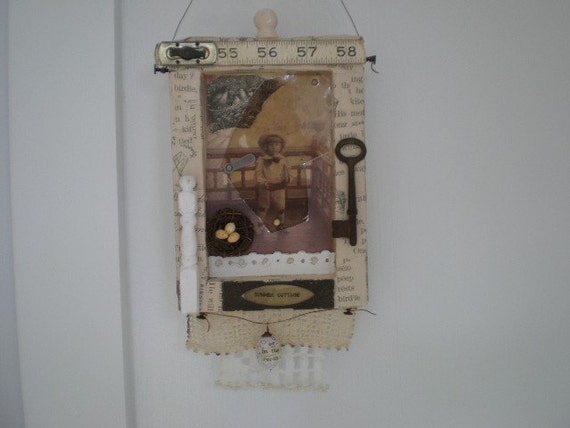 Mixed Media Collage Assemblage Wall Hanging The Front Porch