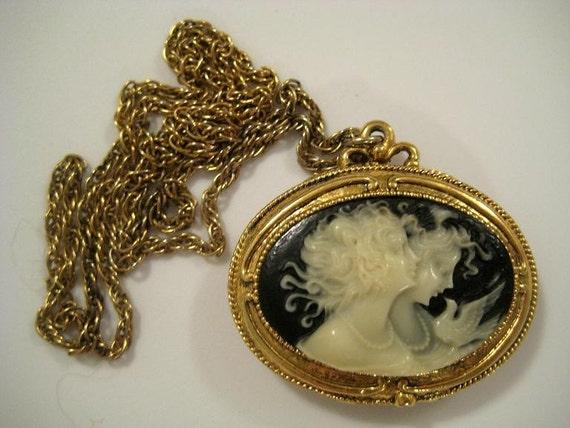 vintage corday cameo solid perfume pendant necklace