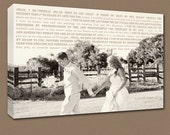 Personalized Vintage Glam Photo Canvas Art Wedding Gift Use Vows and Lyrics Word Art  18X24
