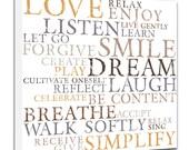 Love Word Art Dream Breathe , 4 color choices wall decor canvas art 10x10 canvas stock art