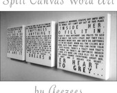Typography Multiple Wall Split Canvas of ONE Word Art image split (3)  16x16 canvases  wall display 50 inches wide