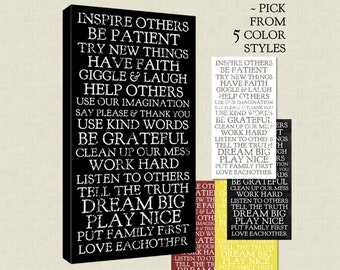 Stock art Family Rules on Canvas, Inspire Others, Dream Big, Love Eachother , Have Faith 15X30 inch , choose from 5 color styles