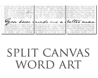 Typography Multiple Wall Split Canvas of ONE Word Art image split of THREE canvas wall display