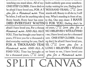 Lyrics Word Art Typography Wall Split Canvas of ONE Word Art image split (4) 12x14 canvas wall display