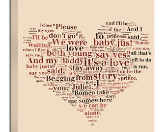 Heart Shaped Words or other shapes word art  Lyrics Collage on canvas or shape of moon,   14x14 Geezees