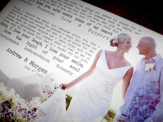 Personalized Gift Personalized Your Photo and Words CUSTOM Canvas vows lyrics Wedding Anniversary Gift Art  16x20  inches