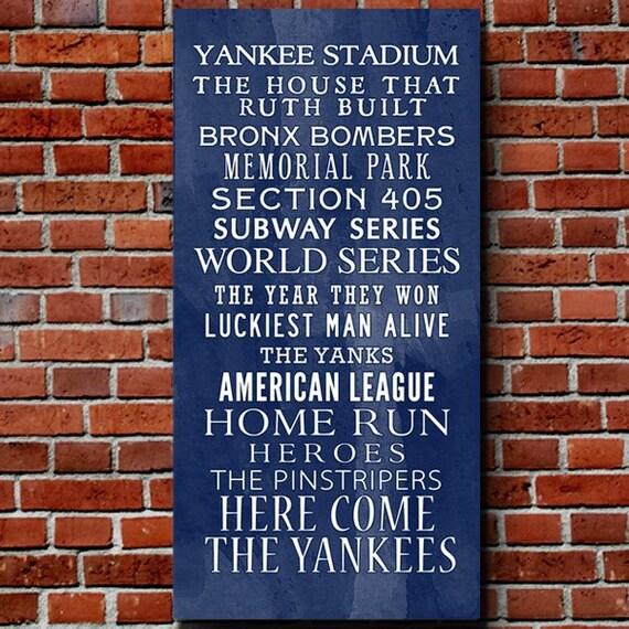 Baseball Home Decor: Items Similar To Yankees Bus Roll Baseball Wall Art Home
