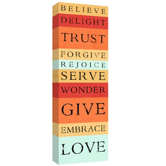 Love Give Serve, Tangerine Striped Bus roll scripture wall decor canvas art 10x30 canvas stock orange art ready to hang