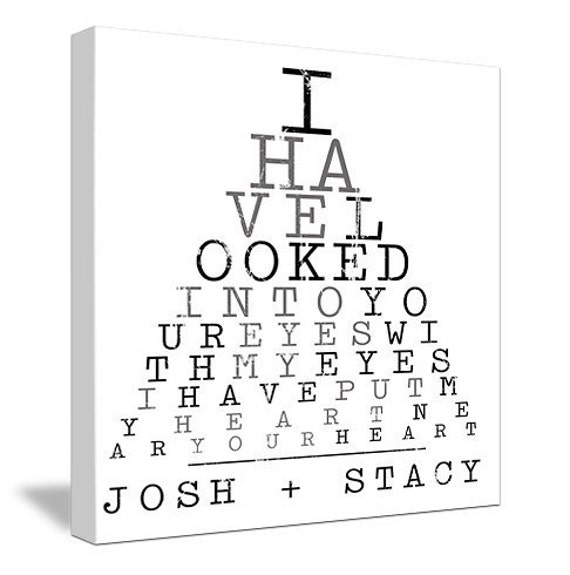 Eye Chart Stock Quote Love and CUSTOM  Names of Couple Gift Custom Canvas 20X20